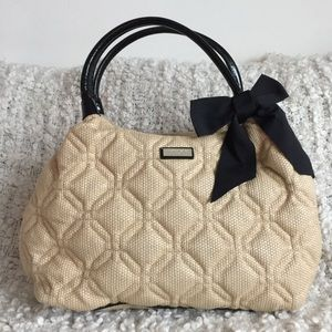 Kate Spade Quilted Straw Patent Leather Bow Bag